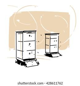 beehives illustration