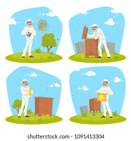 Beekeeper at apiary taking honey vector flat design for beekeeping. Beekeeper man in protective outfit with honeycomb or honey jar at beehive with bees swarm flying around on beekeeping farm