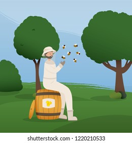 Beekeeper collects honey from bees. Beekeeper in a bee protection suit