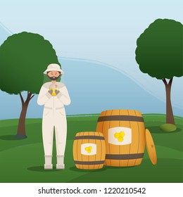 Beekeeper collects honey from bees. Beekeeper in a bee protection suit with a jar of honey.