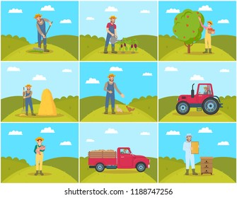 Beekeeper and farming man with rake spreading compost on ground. Chicken feeding, piglet hens tending. Tractor and lorry agricultural machines vector