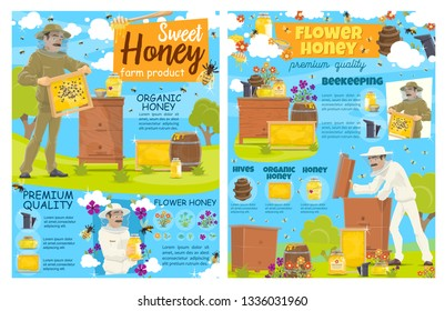 Beekeeper with honeycomb, beehive and beekeeping farm. Vector apiarist in protective costume and hat, organic flower honey in jars and barrels, apiary bees swarm and apiculture or agriculture