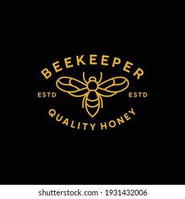 Beekeeper monoline design logo with honey quality