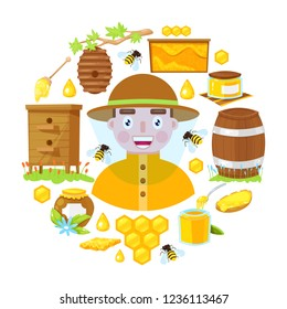 The beekeeper in protective clothes and with different objects of beekeeping on white background.Vector illustration.