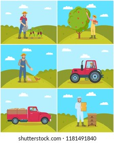 Beekeeper and tractor driving on farm field. Man watering eggplants, person feeding fowls, poultry domestic birds and woman picking apples vector