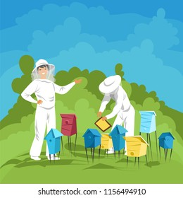 beekeepers in the apiary. employees of the apiary to collect honey