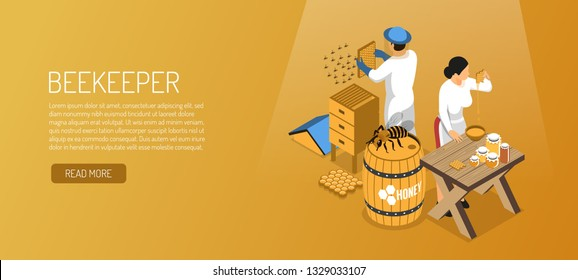 Beekeepers during honey production isometric horizontal banner on pale brown background vector illustration