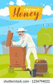 Beekeeping, agiculture industry. Vector apiary and beekeeper man in protective clothing taking honey from beehive to wooden barrel. Bees swarm flying around on beekeeping farm, green meadow
