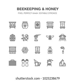 Beekeeping, apiculture flat line icons. Beekeeper equipment, honey processing, honeybee, beehives types, natural products. Bee garden, apiary thin linear signs, organic farm shop. Pixel perfect 64x64
