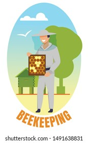 Beekeeping Banner. Man in Protective Uniform Holding Frame with Bee Honeycombs. Beekeeper Character Presenting Natural Honey Production, Ecological Food, Summer Season Cartoon Flat Vector Illustration