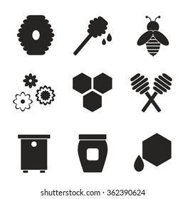 Beekeeping black silhouette isolated icons on white background. Apiary icons set. Honey bee, jar, spoon. Flat style vector illustration.