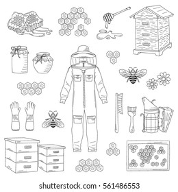 Beekeeping equipment collection with  protective clothing, beehive and  bee smoker, isolated on white background. Honey icons set vector hand drawn, doodle style illustration.