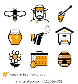 Beekeeping & honey icons set