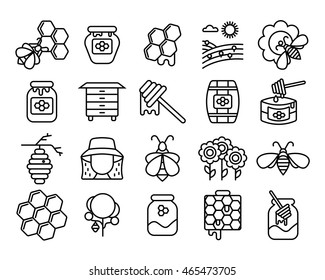 Beekeeping and honey line icons set. Honey industry concept. Set of Bee products and beekeeping symbols. Can be used for logo and packaging design, labels and tags with bees and honeycombs