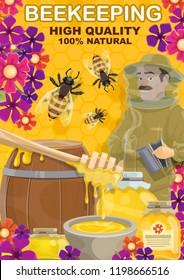 Beekeeping and honey products. Vector beekeeper man at apiary with dipping spoon, wooden barrel and glass jar, bees swarm in flowers on honeycomb background
