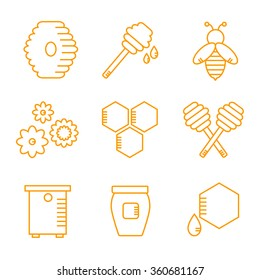 Beekeeping isolated icons on white background. Apiary icons set. Apiculture. Honey bee, jar, spoon. Flat line style vector illustration.