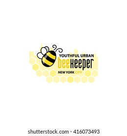 Beekeeping logo template. Honey labels and beekeeping logo. Food sweet, insect and cell, honeycomb and beeswax, comb and wax. Vector illustration