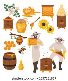 Beekeeping set, flat vector illustration. Beekeeper cartoon characters, beehive, bee, honeycombs, honey jar, dipper, barrel flowers. Healthy sweet syrup. Beekeeping farm. Honey bee farming business.