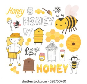 Beekeeping set of illustrations with cute bee, beekeeper, honey.