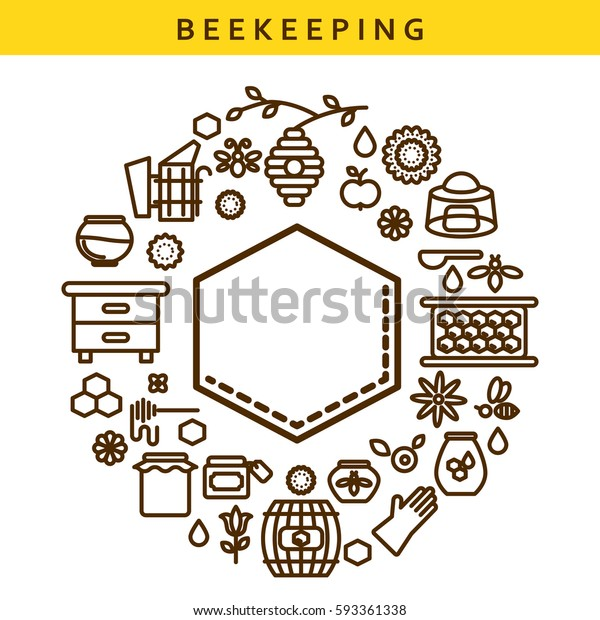 Beekeeping Vector Line Icon Honey Label Stock Vector (Royalty Free