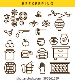 Beekeeping vector line icon set. Outline apiary isolated objects.
