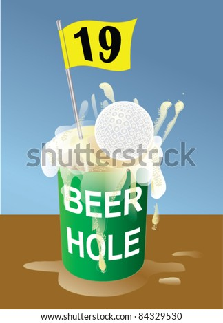 Beer 19th hole on golf course illustration. Hole-in-one.