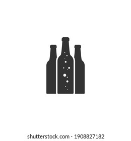 beer or ale bottle with bubbles. Bar, pub, brew symbol. Alcohol, drinks shop, stor, menu item icon. Vector illustration isolated on white.