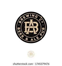 Beer and Ale logo. Beer Pub emblem. A and B crossing letters. Craft Beer logotype at engraving style. Vintage style with Celtic ornament.