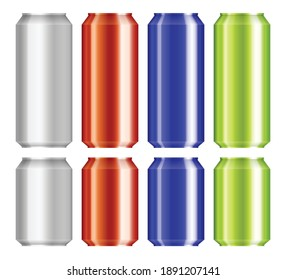 Beer aluminium can set vector illustration isolated on white