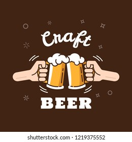 Beer background concept for banners, posters, flyers and promotional material. People in a pub clink mugs of beer. Friends having fun at a party. Vector illustration in flat style.