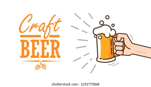 Beer background concept for banners, posters, flyers and promotional material. Mug of beer attracts attention on a white background. Isolated vector illustration in flat style.