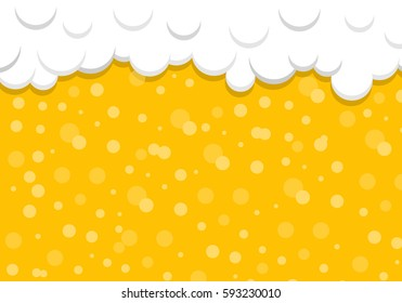 Beer background with foam and bubbles. Vector illustration.