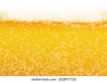 Beer background with realistic bubbles.