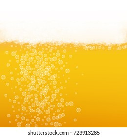 Beer background with realistic bubbles. Cool beverage for restaurant menu design, banners and flyers. Yellow square beer background with white frothy foam. Cold glass of ale for brewery design.