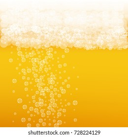 Beer background with realistic bubbles. Cool liquid drink for pub and bar menu design, banners and flyers. Yellow square beer background with white frothy foam. Cold glass of ale for brewery design.