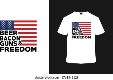 Beer Bacon Gun & Freedom USA t shirt design, 4th july t shirt, vector, typography, apparel, eps, emblem