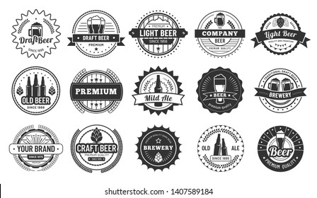 Beer badges. Beers pub, lager bottle and hipster craft beer badge isolated vector illustration set