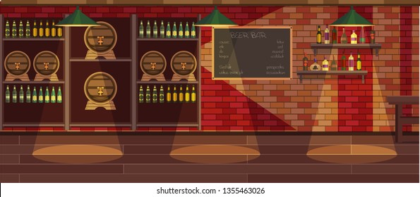 Beer bar interior cartoon vector illustration. Empty modern pub flat drawing. Bar counter, stool. Cafe menu written in chalk on chalkboard. Alcoholic beverages in bottles. Beer in glass