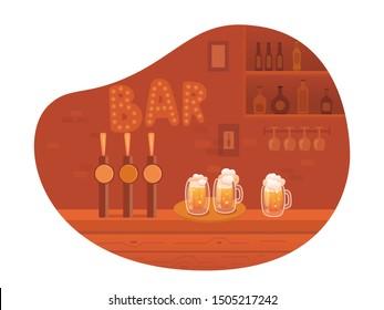 Beer bar interior cartoon vector illustration. Empty modern pub flat drawing. Alcoholic beverages in bottles. Beer in glass