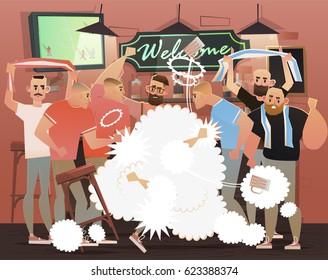 Beer bar - Restaurant. Fight in the football fans' bar. vector illustration