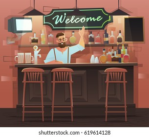 Beer Bar   Restaurant. Vector Banner Of Interior With Bar Counter, Bar  Chairs And