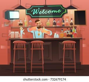 Beer bar - Restaurant. Vector banner of interior with bar counter, bar chairs and shelves with alcohol. Bartender at the counter works. bartender makes the cocktail