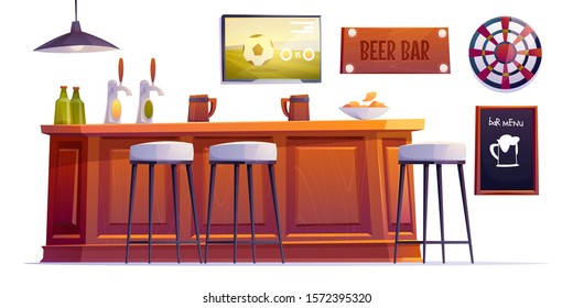 Beer bar stuff, pub desk with bottles and cups, high stools, drinks, menu board, darts and television with football match hang on wall isolated on white background Cartoon vector illustration clip art