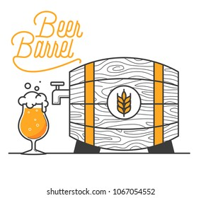 Beer barrel minimal vector illustration. Line design. Wheat beer in a barrel for pub designs. Wooden barrel with a good drink and typo design. Open the tap and set beer free.
