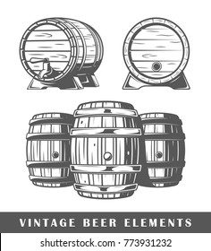Beer barrels isolated on white background. Design elements. Vector illustration
