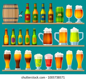 Beer in beerhouse brewery vector beermug or beerbottle and dark ale in bar on beery party with alcohol and beered up in pub illustration set isolated on background