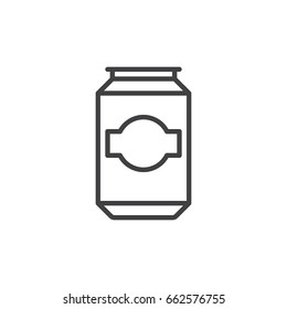 Beer, beverage can line icon, outline vector sign, linear style pictogram isolated on white. Symbol, logo illustration. Editable stroke. Pixel perfect