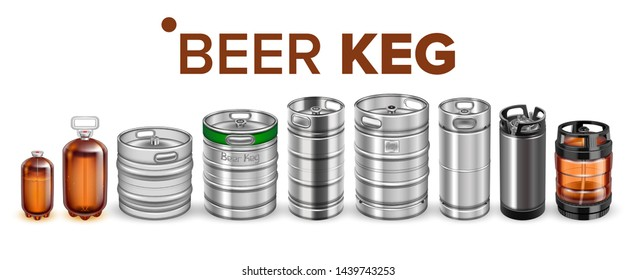 Beer Beverage Keg Barrel Cask Set Vector. Different Material And Size Beer Keg. Stainless Steel, Glass And Plastic Container For Storage And Botteling Alcoholic Drink. Realistic 3d Illustration