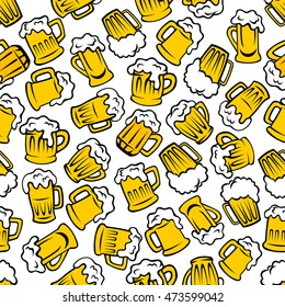 Beer beverages retro cartoon pattern with seamless background of mugs and tankards full of light beer, lager and ale drinks. Use as pub or brewery promotion design