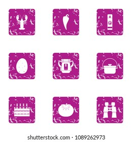 Beer biz icons set. Grunge set of 9 beer biz vector icons for web isolated on white background